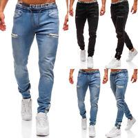 Mens Slim Fit Jeans Elasticated Waist Denim Pants Skinny Casual Trousers Joggers
