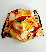 Facemask, Adult Fast Food Themed Face Covering, Cotton, Washable, From UK