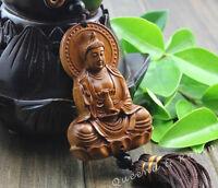Chinese Knot Wood Carving Net Bottle Kwan Yin Buddha Statue Car Pendant Amulet