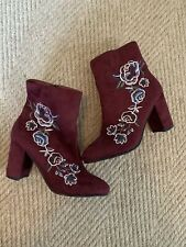 Hippie Laundry Womens Suede Heeled Boots Chunk Heel Size