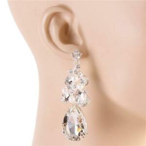 CHANDELIER WHITE PEARL & CLEAR GLASS CRYSTAL EARRINGS PROM FORMAL CHUNKY JEWELRY
