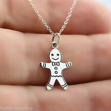 GINGERBREAD MAN NECKLACE - 925 Sterling Silver - Gingerbread Charm Toys Holidays