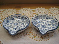 2 Detail Hand Painted Blue & White Small Porcelain Bowl Dishes, Marked