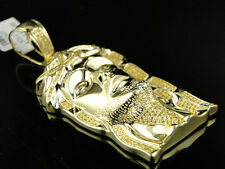 New Mens Yellow Gold Finish Canary Diamond Jesus Face Piece Pendant Charm .75 Ct