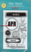 HERO ARTS Clear Stamp MONTH APRIL Easter Bunny Aries