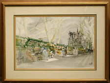 "MAGNIFICENT 1940'S FRENCH WATERCOLOR OF NOTREDAME BY PIERRE PAGES ""LA"""