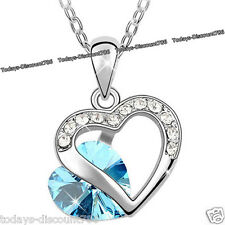 NEW Xmas Gifts For Her - Double Heart Blue Necklace Wife Mother Daughter Women