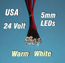 10 pcs LED - WARM WHITE 5mm PRE WIRED LEDS 24 VOLT PREWIRED 24V