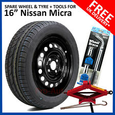 "16"" SPARE WHEEL FOR NISSAN MICRA 2017 - 2019 FULL SIZE 195/55R16 TYRE + TOOLS"