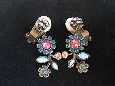 Sorrelli Earrings Drop Dangle Clip Blue Pink Topaz Crystal Antique Gold Flower