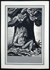 Vintage Antique Antioch Bookplate 1930s/40s RARE Rockwell Kent - Tree