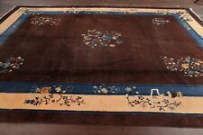 Antique Floral Art Deco Nichols Chinese Area Rug Wool Hand-Knotted Brown 9'x12'