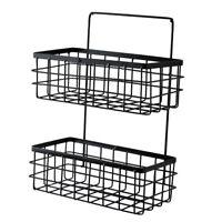 2 Tier Iron Bathroom Storage Organizer Basket Bin For Bathroom Kitchen
