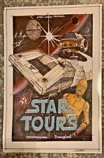 "1985 RARE Star Wars Star Tour CONCEPT ART Poster 20x30"" Galaxys Edge Disneyland"