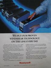 1/1990 PUB HONEYWELL MD-80 MD-11 L-1011 FOKKER 100 AIRLINES WINDSHEAR AD