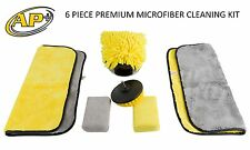 Microfiber Cleaning Kit Cloths Sponges Wash Mitt Carpet Brush 6 Piece car house