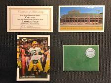 Green Bay Packers Game Used Piece of Lambeau Field & Aaron Rodgers Card