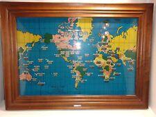 Vintage Howard Miller 1959 World Map Light Up Electric Mantel Clock Model 4625