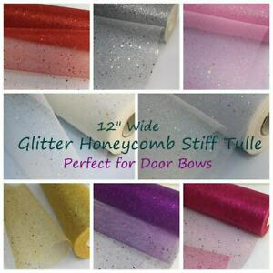"54"" / 135 CM Wide Sparkles Glitter Honeycomb Stiff Tulle Fabrics  UK Seller"