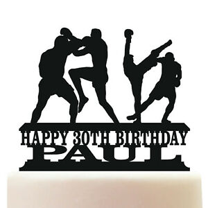 Personalised Acrylic Muay Thai Boxing Martial Arts Birthday Cake Topper