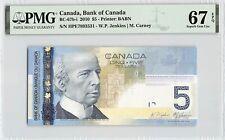 New listing Canada 2010 P-67b-i Pmg Superb Gem Unc 67 Epq 5 Dollars (Jenkins-Carney)
