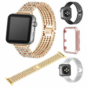 Lady Bling Band Strap Bracelet Diamond Metal Case for Apple Watch Series 4 3 2 1
