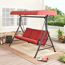 Plush Outdoor Patio Porch Swi 00006000 ng Set Seats 3 Cushions Steel Adjustable Canopy Red