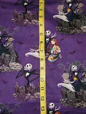 Fat Quarter NIGHTMARE BEFORE CHRISTMAS JACK SALLY Cotton Fabric Purple