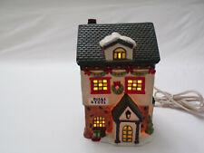 "Vintage Christmas Ceramic Holiday Village Lighted ""Dolls & Toys"" 6"" Original Box"