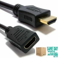 0.5m HDMI EXTENSION Cable Male to Female v1.4 3D High Speed With Ethernet BLACK
