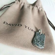 David Yurman $475 Sterling Silver Men's Waves Tag Pendant Authentic 35mm