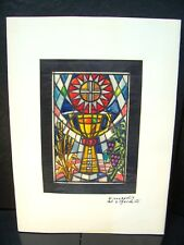 Chalice & The Sun Stained Glass Design Original Ink Sketch By C. Kelm