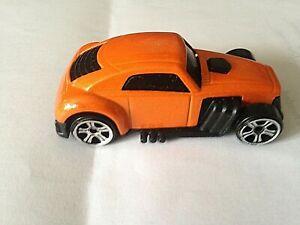"SMALL  BLACK/ORANGE TOY  CAR! -  RIGID  PLASTIC  -  2.5"" (6cms) Long - UNPOWERED"