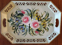 Vintage Cream Floral Toleware Tray Reticulated Rim_2 Hand Holes Hand-Painted