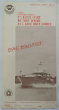 Vtg Florida St Lucie Inlet to Fort Myers and Lake Okeechobee Chart Big Map 1974