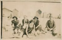 Six People at the Beach Real Photo Postcard rppc