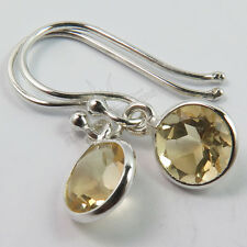 Delicate Earrings 925 Solid Sterling Silver Natural Fire CITRINE Round Gemstones
