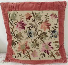 Kissen 40 x 40 cm Deko Kreuzstich altrosa Sofa beige lila rosa vintage handmade