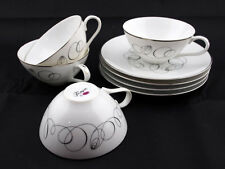 Retro Vintage MEITO Japan Tempo Abstract Swirl Teacup/Saucer Sets 8 pc Gorgeous!
