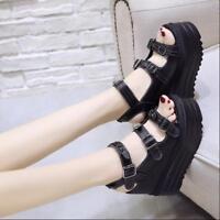 Womens Platform Hidden Wedge Heel Punk Peep Toe Ankle Strap Buckle Roman Shoes