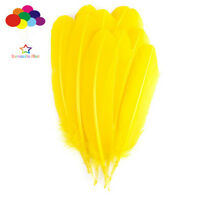 100 pcs Turkey Quills by Wing feathers yellow 28-33 CM/11-13 Inch Diy Carnival