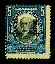 CANAL ZONE (US) 1909 Arosemena 5c deep blue - DOUBLE OVERPRINT - Sc# 33a mint MH