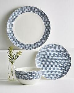 Geo Dinner Porcelain 12 piece Set Home Dining Kitchen Tableware Good Size NEW
