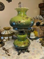 Vtg Gone With Wind Lamp green w/ Applied Gold Flowers Ornate Tested and works