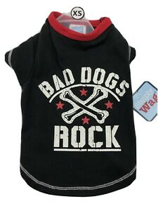 """Simply Wag Dog T-Shirt Black & Red """"Bad Dogs Rock"""" with Dog Bones on it Size XS"""