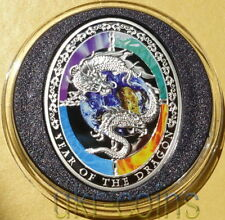 2012 Niue $1 Lunar Year of the Dragon 1Oz Silver Color Coin Proof Chinese Zodiac
