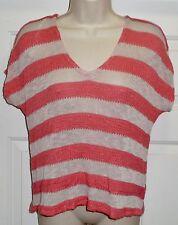 Splendid Coral Beige Stripe Lightweight V-Neck Short Sleeve Sweater Top Medium