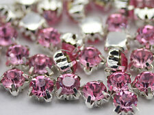 6mm SS30 Pink Lt. Crystal Sew On Rhinestone Rose Montee Beads 25 PCS