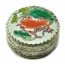 Vintage Chinese Shard Box Tibetan Silver Porcelain Inlay Jewelry Mirror Fish
