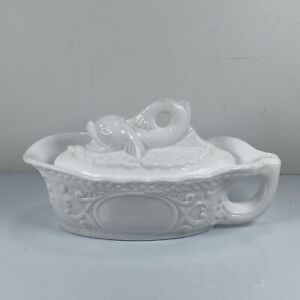 """Antique Milk Glass Koi Fish Covered Gravy Boat Oval Dish w/Handle 7 1/8""""L EAPG"""